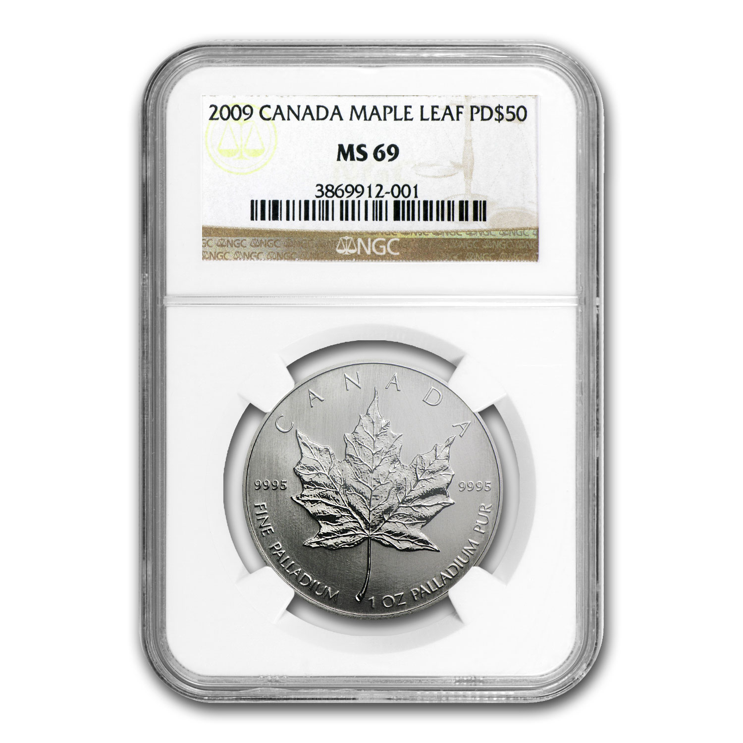 2009 1 oz Palladium Canadian Maple Leaf MS-69 NGC