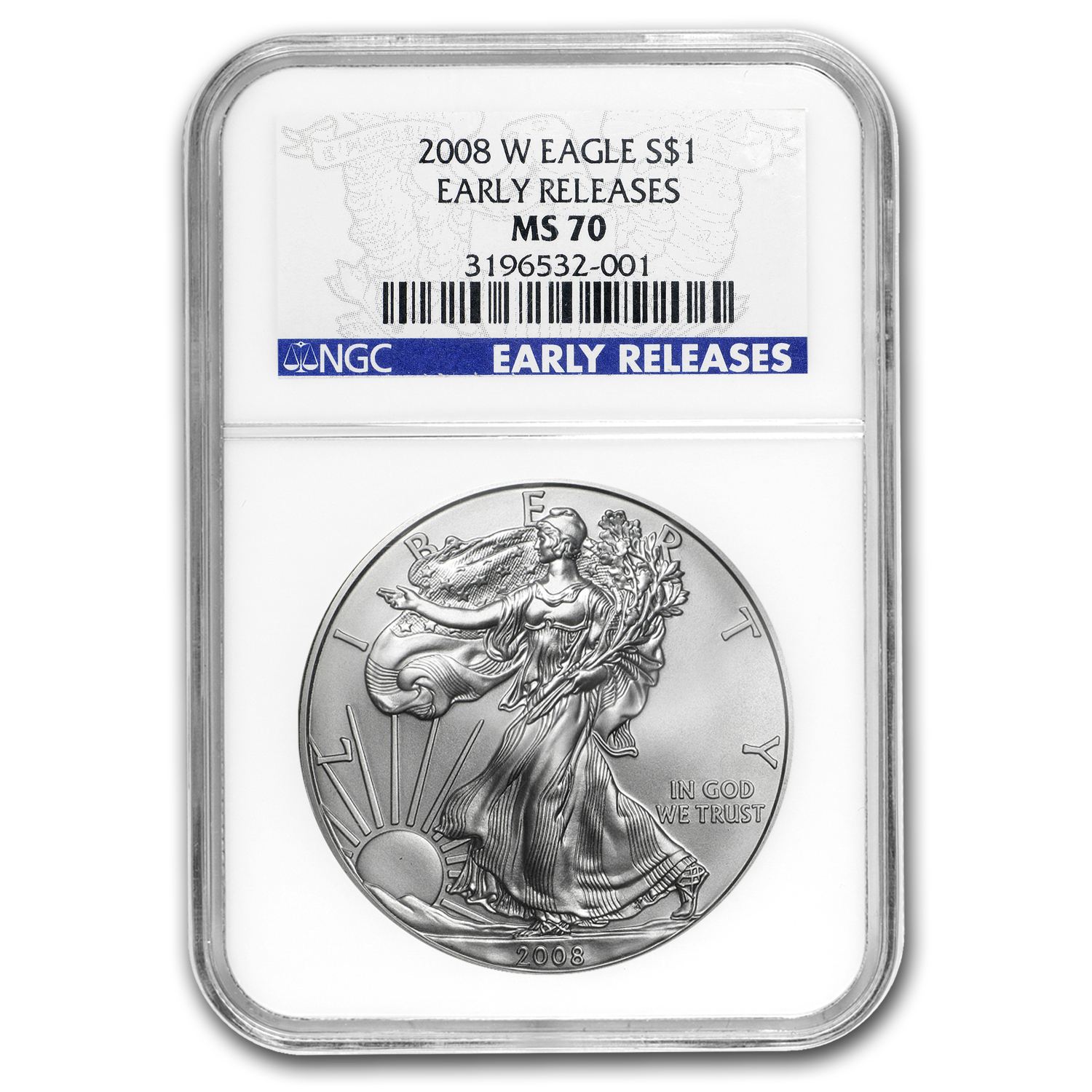 2008-W (Burnished) Silver American Eagle MS-70 NGC (ER)