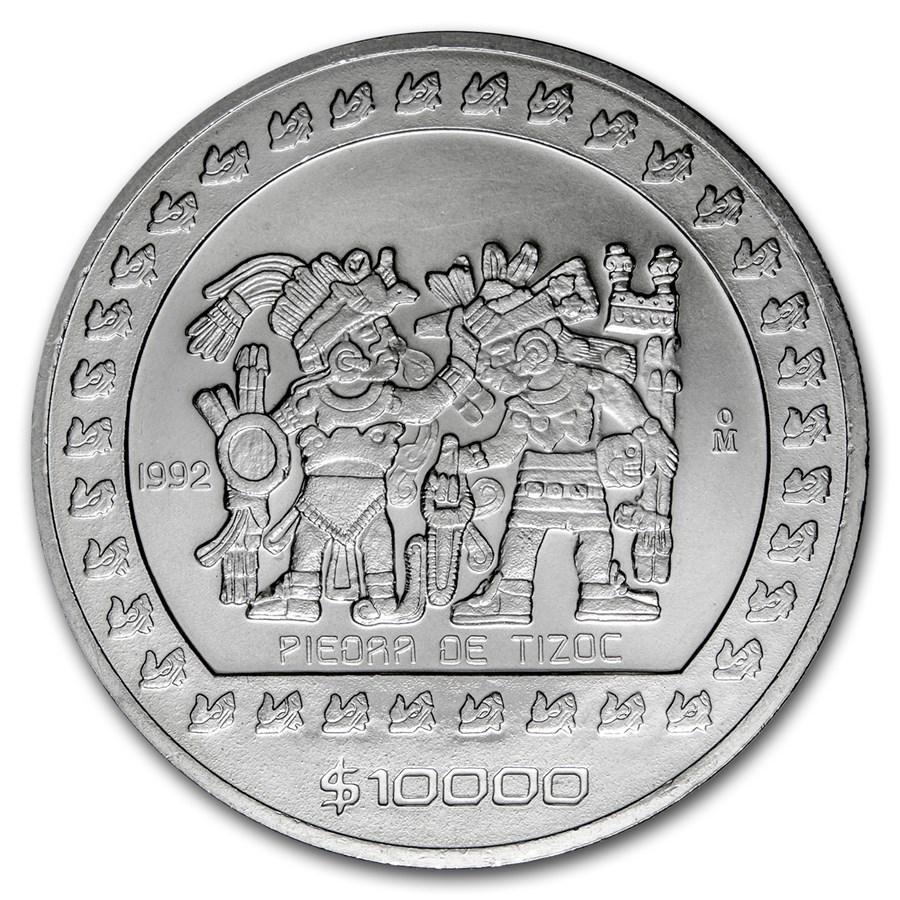1992 Mexico 5 Oz Silver 10 Pesos Piedra De Tizoc Bu