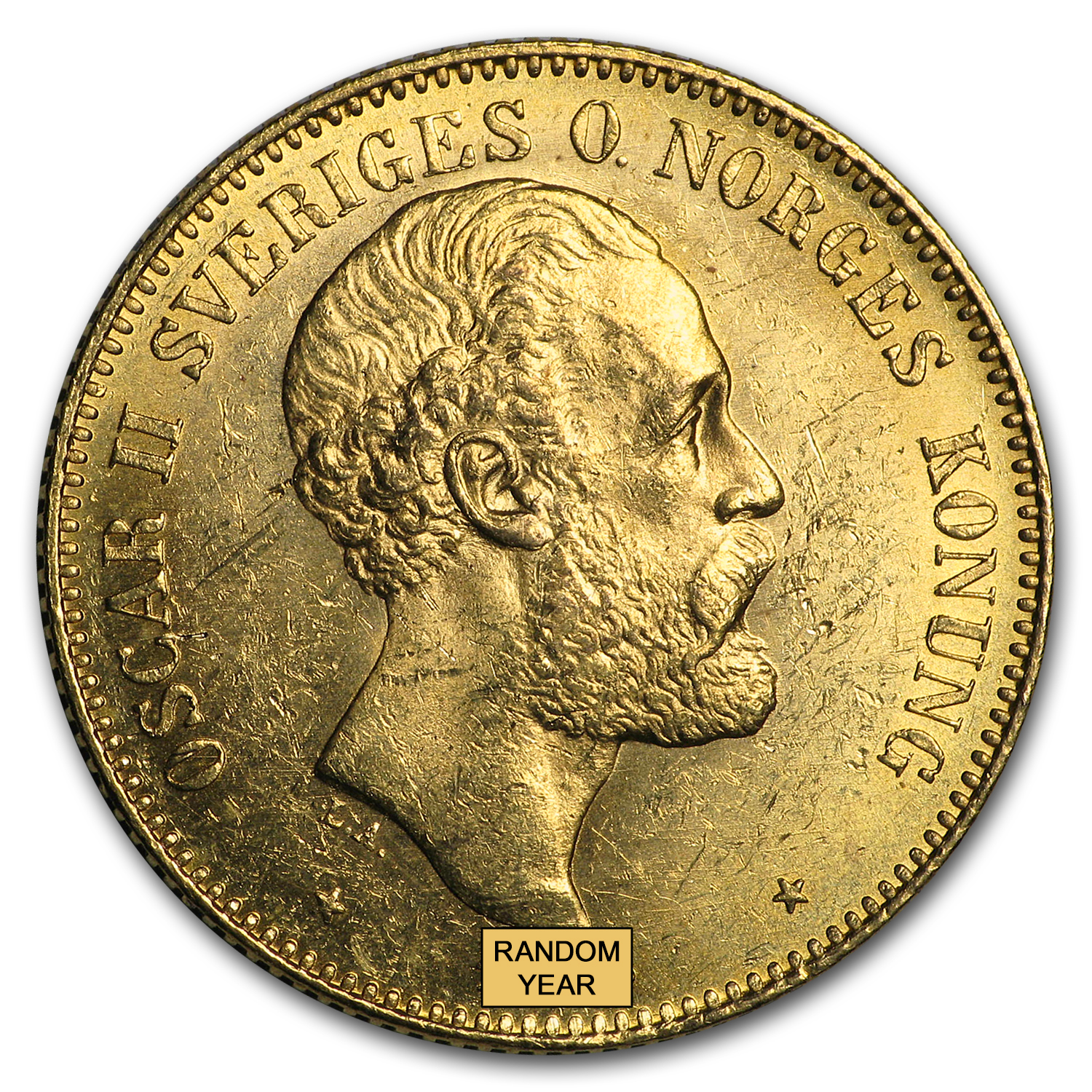 Sweden Gold 20 Kronor AU-BU (19th Century)