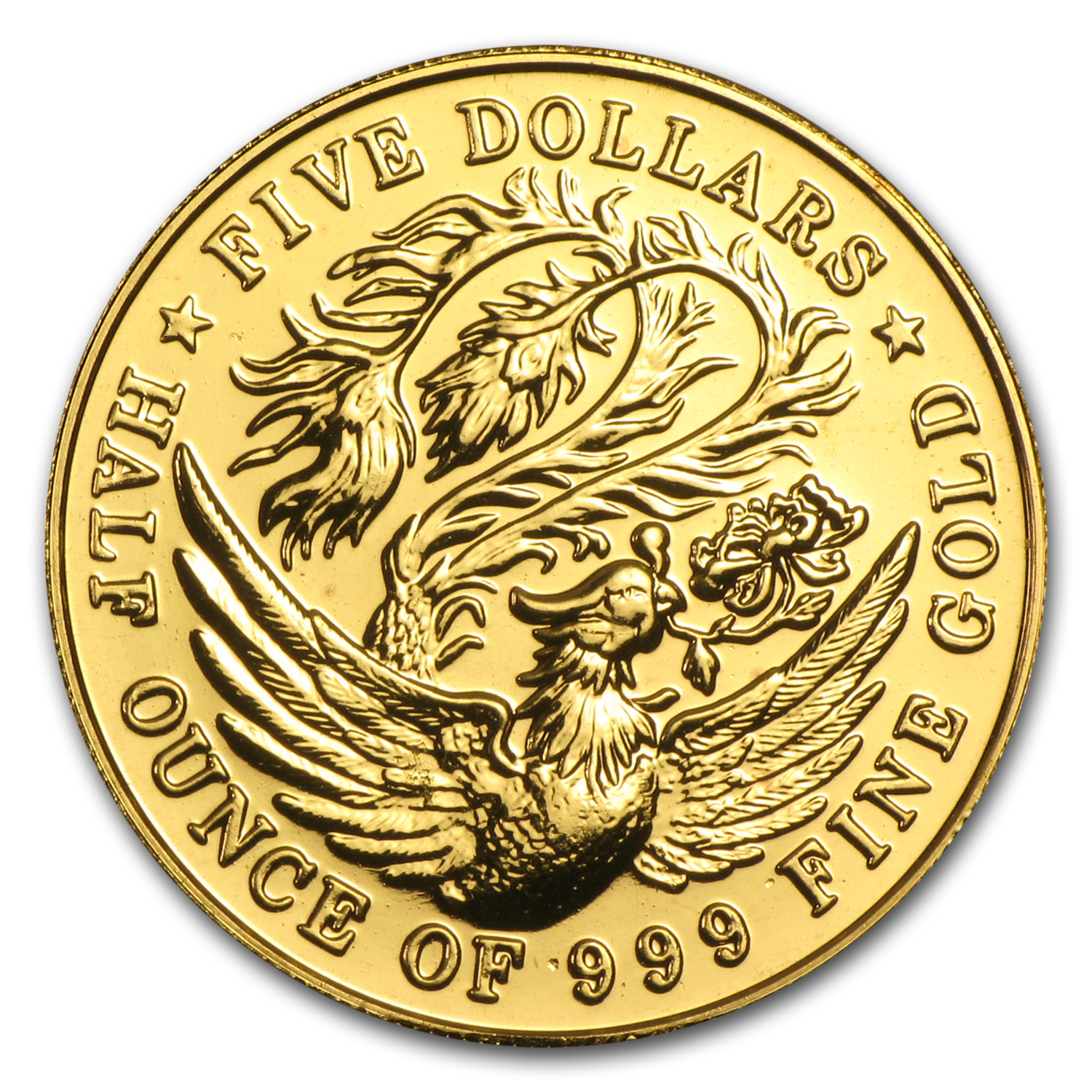 Singapore 1983-1984 5 Dollar 1/2 Oz Gold BU Phoenix