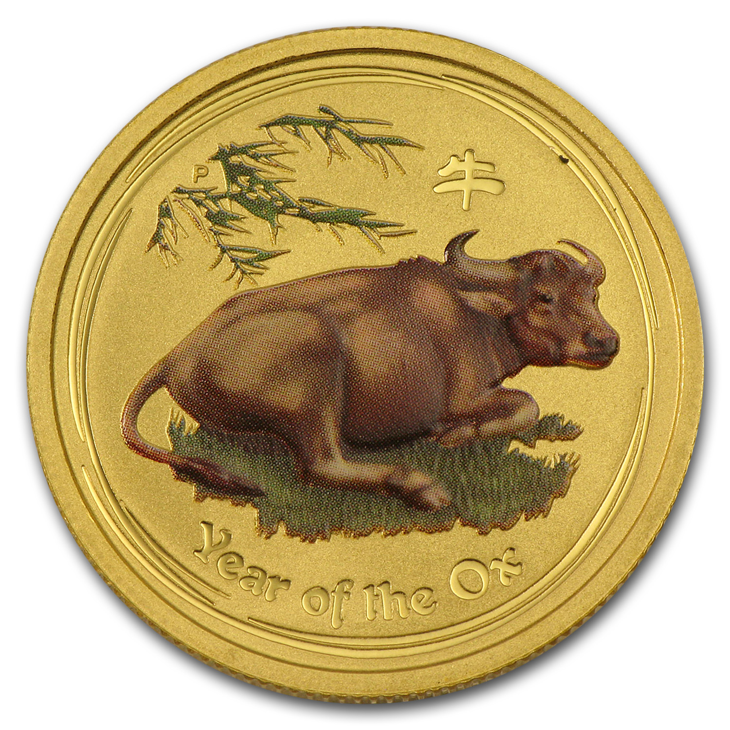 2009 Gold 1 4 Oz Lunar Year Of The Ox Bu Sii Colorized