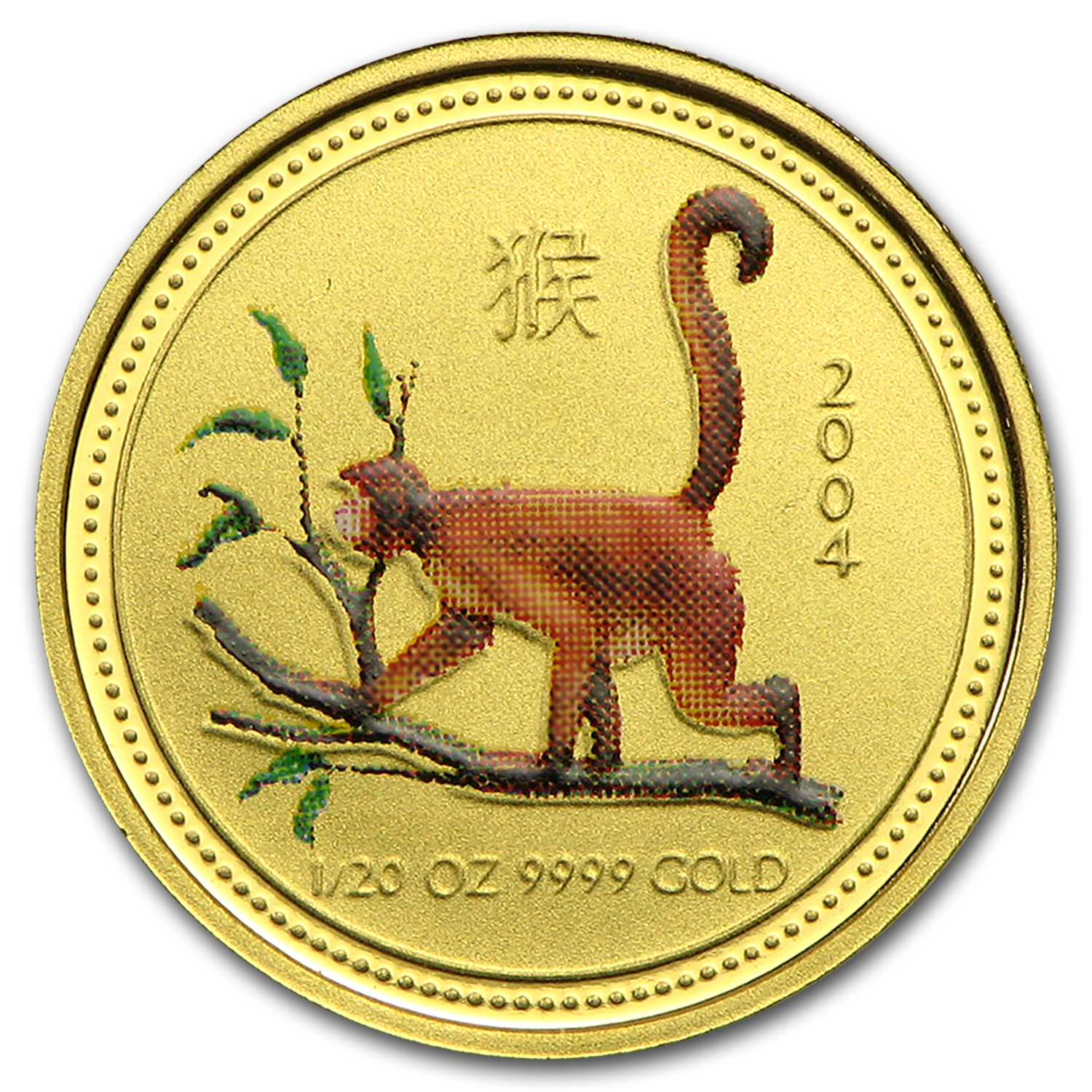 2004 Australia 1/20 oz Gold Lunar Monkey BU (SI, Colorized)