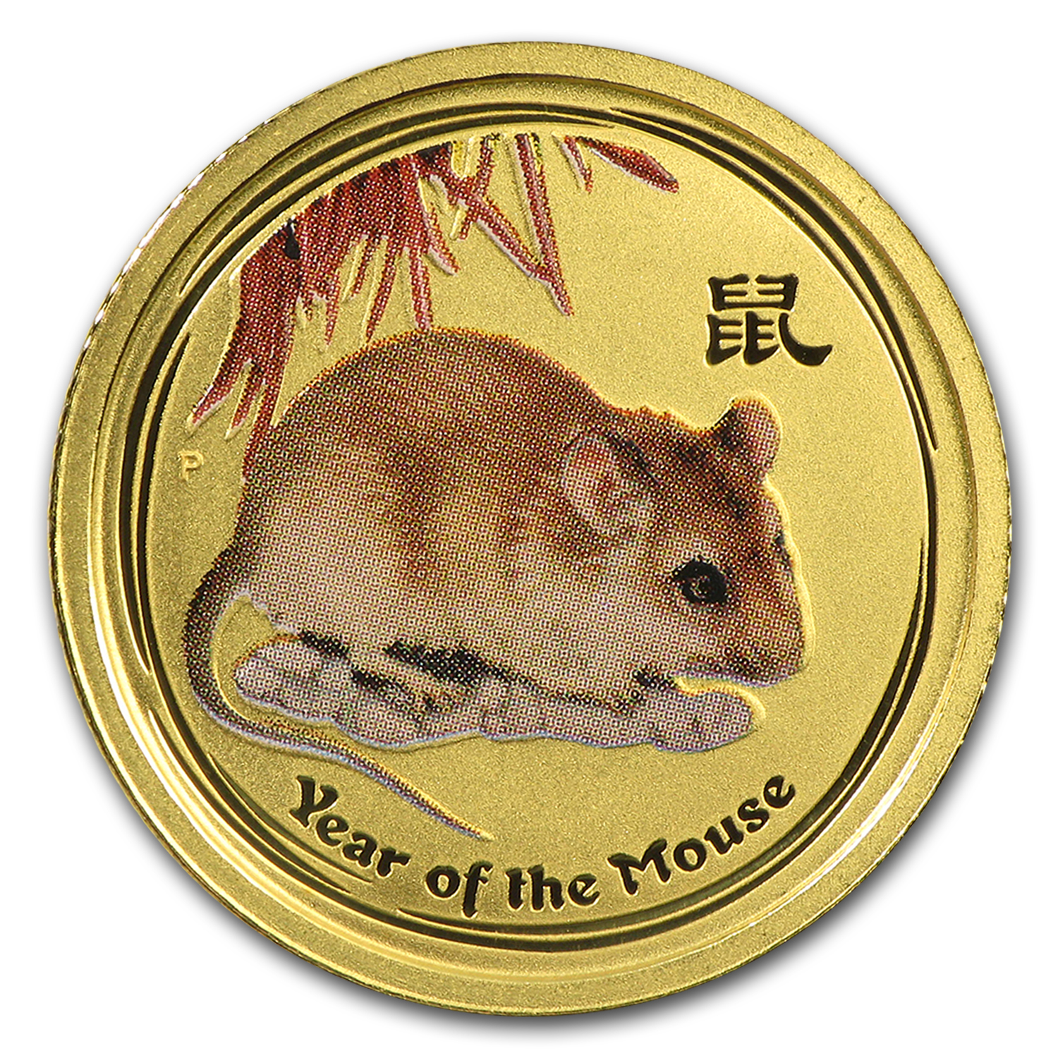 2008 Australia 1/10 oz Gold Lunar Mouse BU (SII, Colorized)
