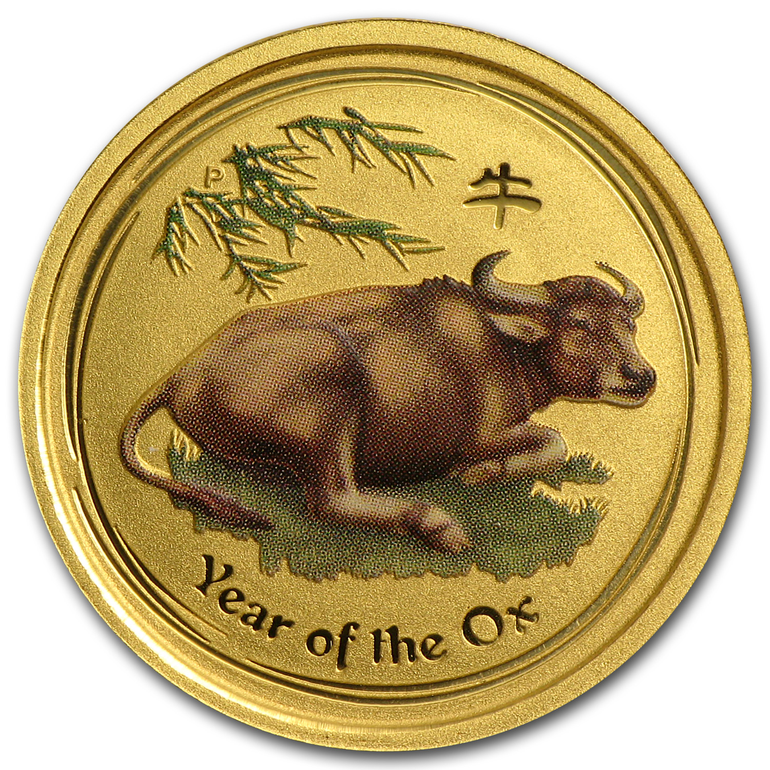 2009 Australia 1/10 oz Gold Lunar Ox BU (SII, Colorized)