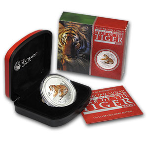 2010 1 oz Colored Silver Australian Year of the Tiger Coin (SII)