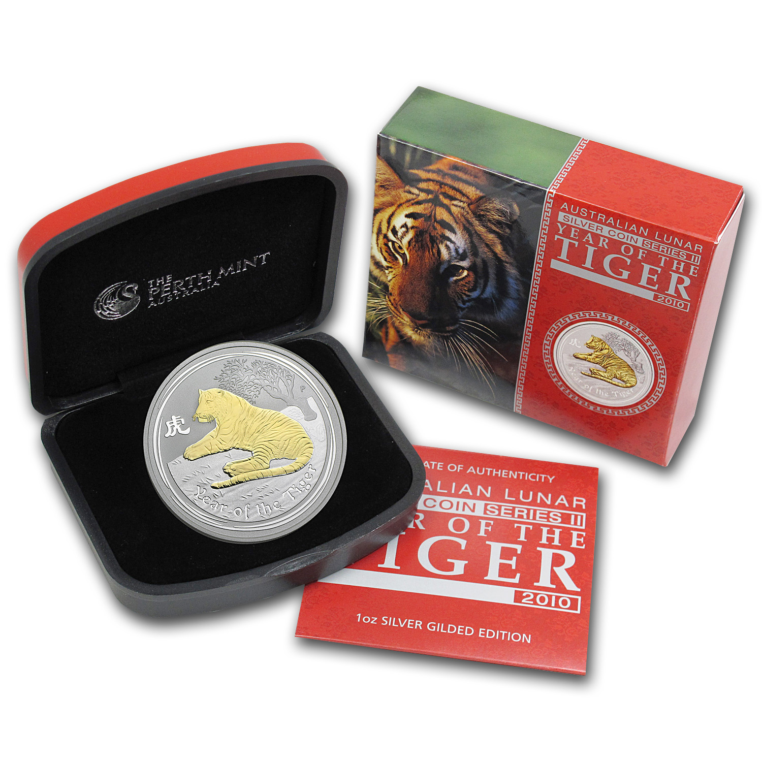 2010 Australia 1 oz Silver Tiger Gilt BU (Series II, w/Box & COA)