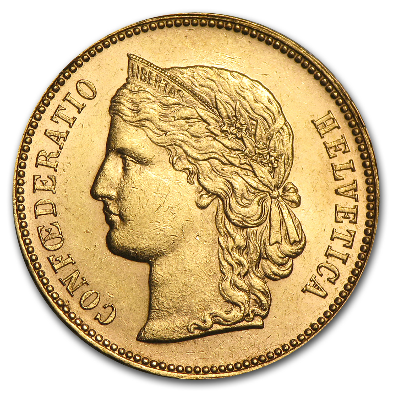 1883-1896 Switzerland Gold 20 Francs Helvetica Avg Circ