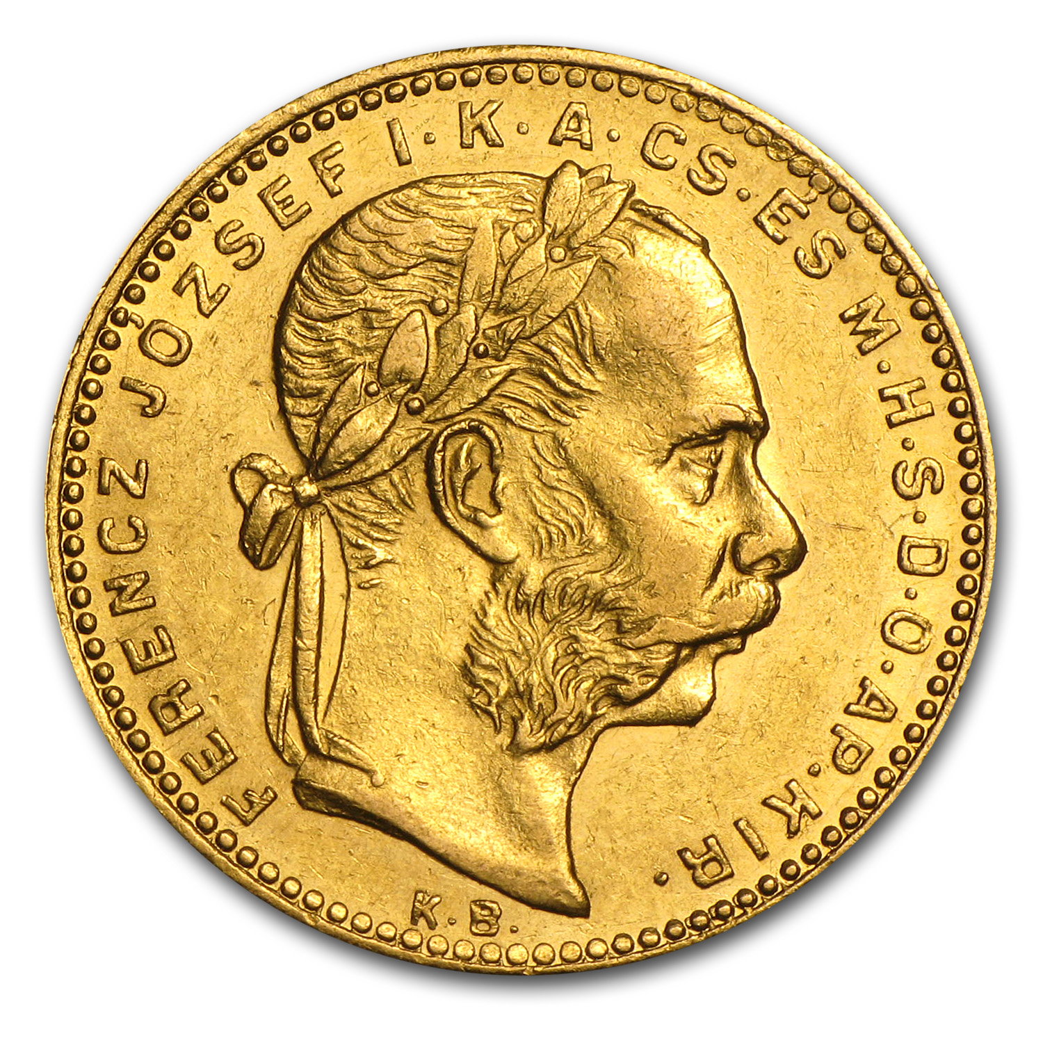 1870-1892 Hungary Gold 8 Forint/20 Franc Avg Circ