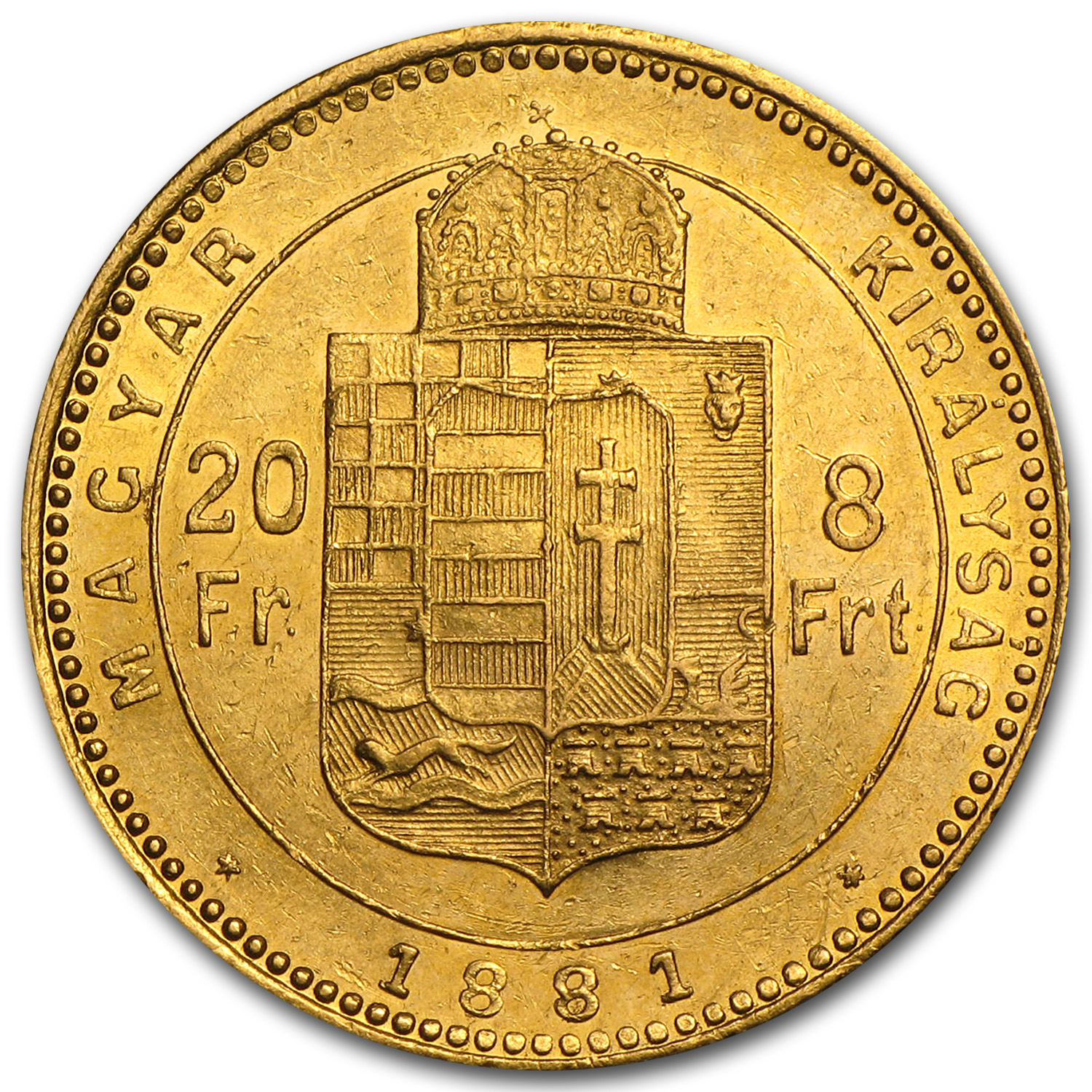 1870-1892 Hungary Gold 8 Forint/20 Franc Average Circ