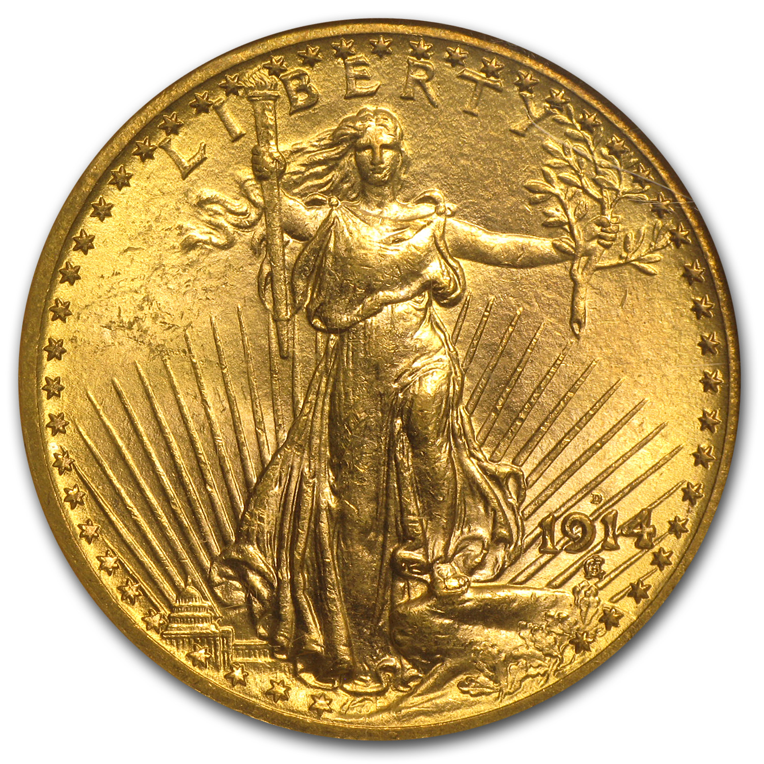 1914-D $20 St. Gaudens Gold Double Eagle MS-63 NGC