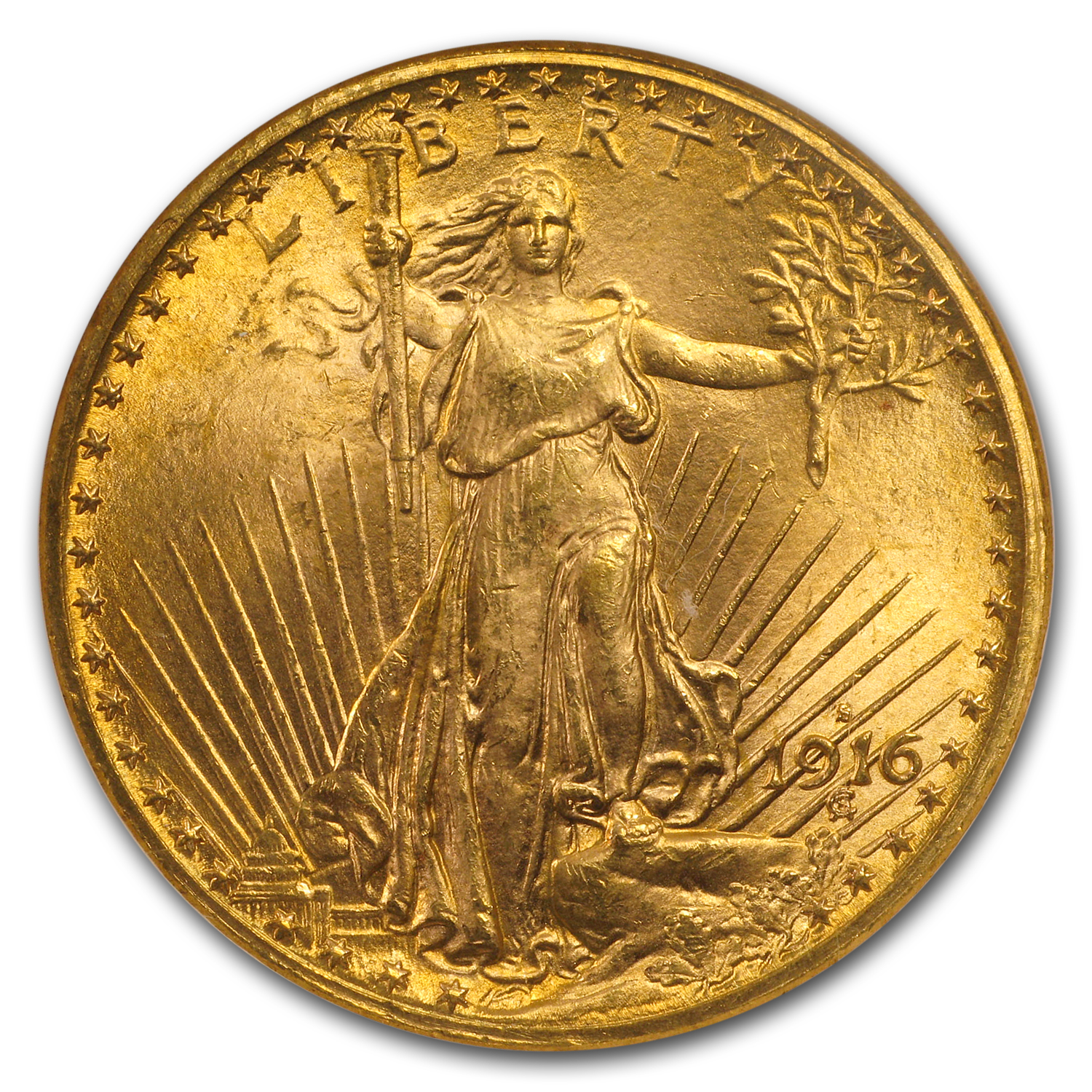 1916-S $20 Saint-Gaudens Gold Double Eagle MS-65 NGC