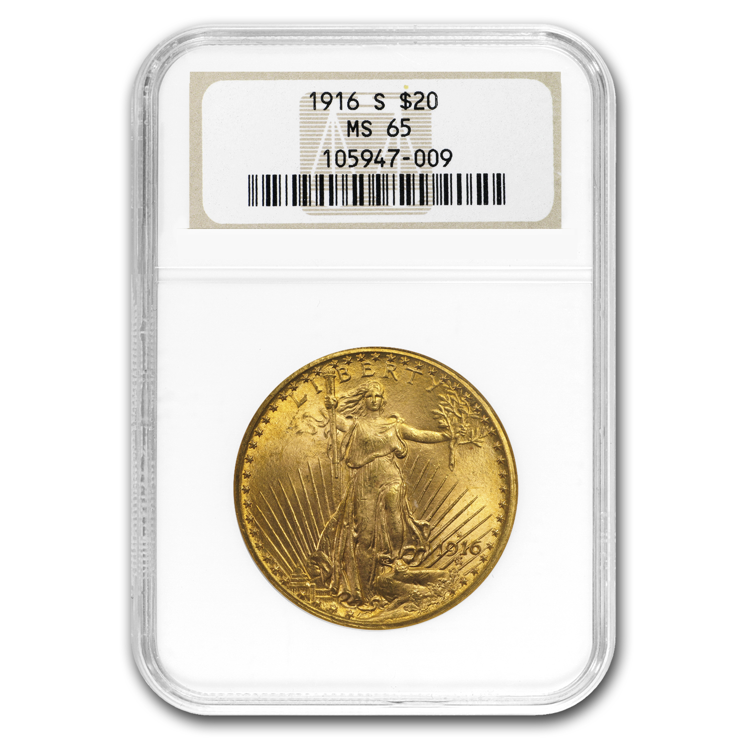 1916-S $20 St. Gaudens Gold Double Eagle MS-65 NGC