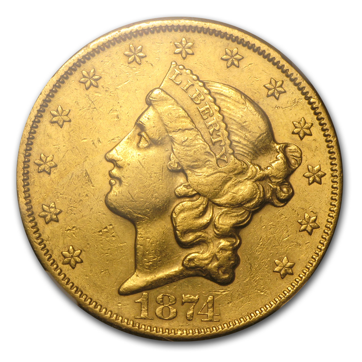1874-CC $20 Gold Liberty Double Eagle - (AU Details/Cleaned) NCS