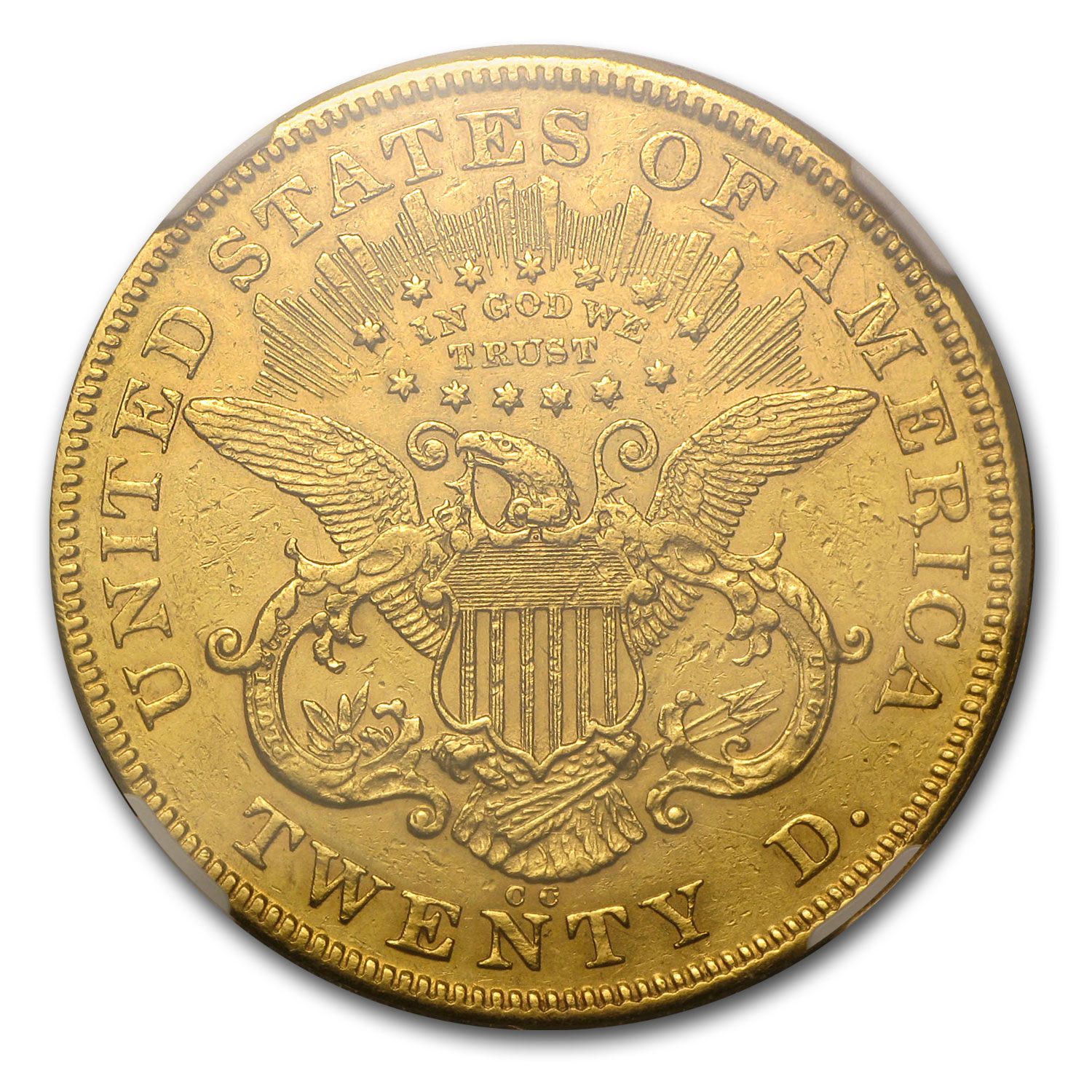 1874-CC $20 Liberty Gold Double Eagle AU Details NCS (Cleaned)