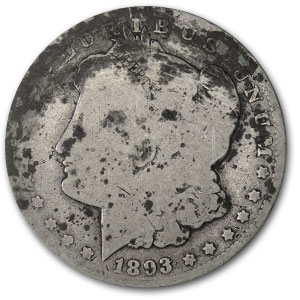 1893-O Morgan Dollar - Almost Good Details - Damaged