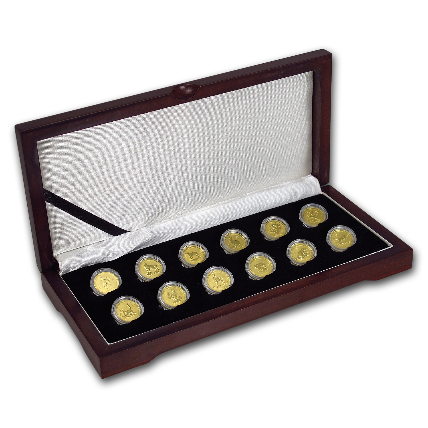 1996-2007 12-Coin 1/10 oz Gold Lunar Mint Set BU (Series I)