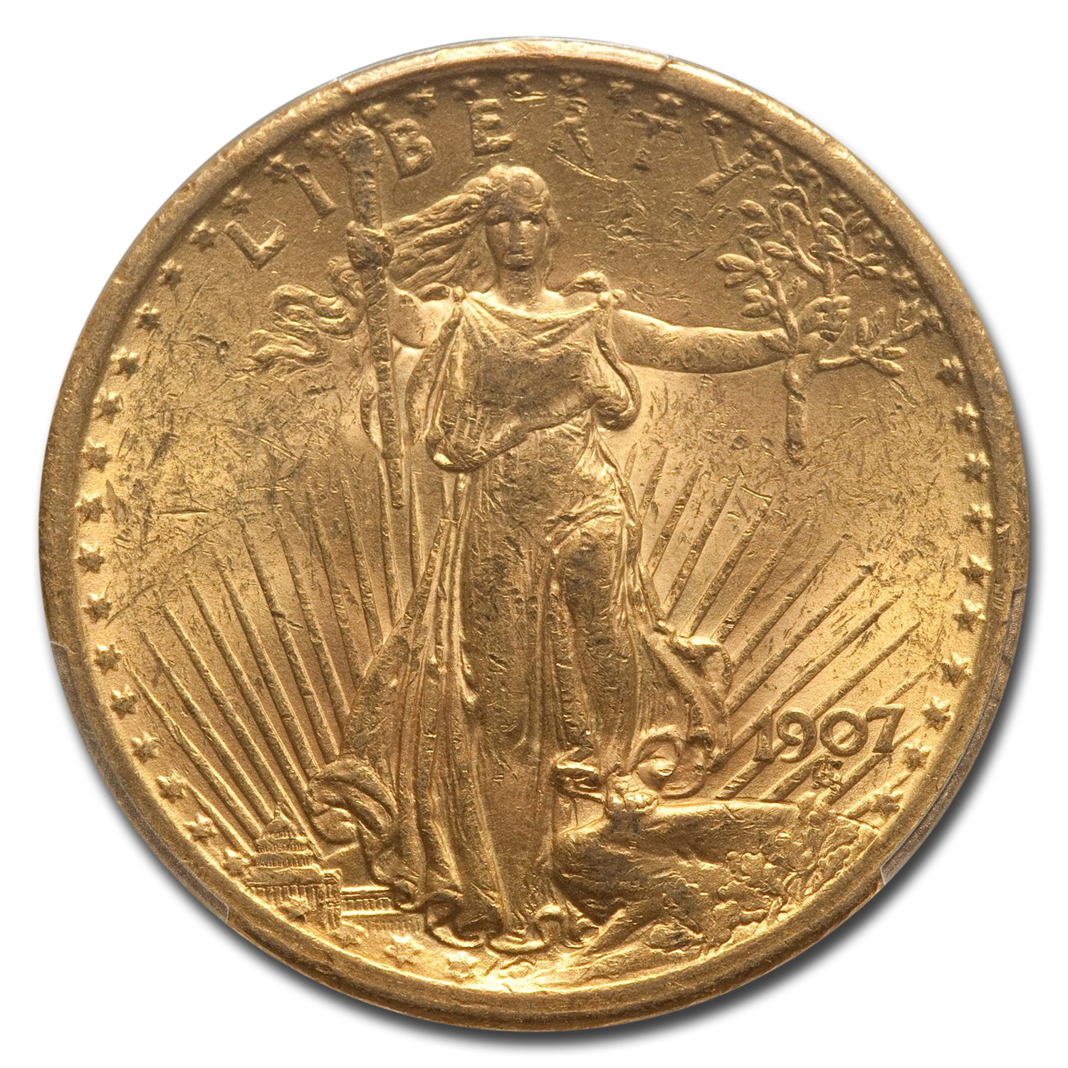 1907 $20 St. Gaudens Gold Double Eagle - MS-61 PCGS