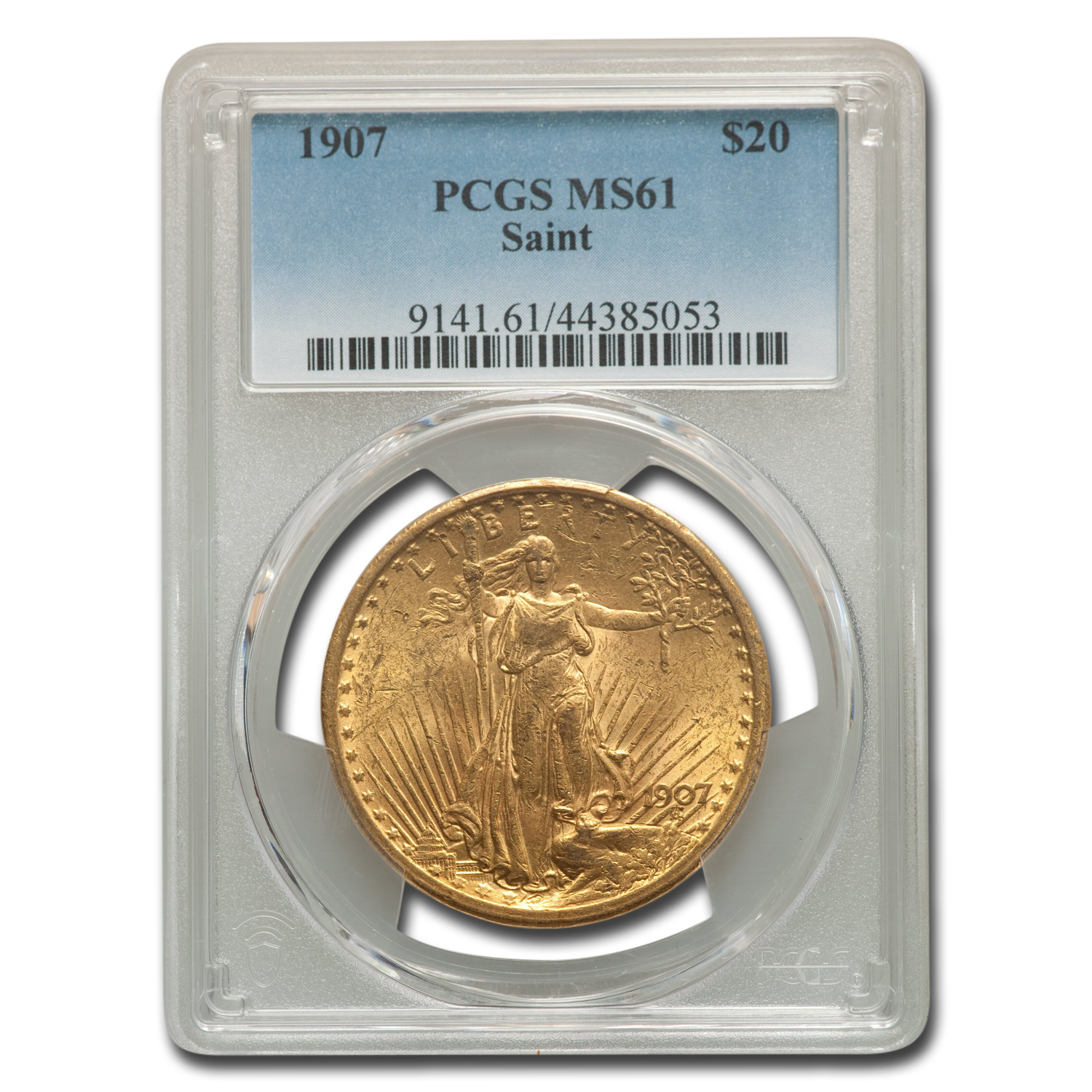 1907 $20 St. Gaudens Gold Double Eagle MS-61 PCGS