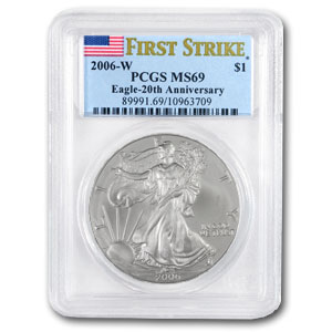2006-W Burnished Silver Eagle MS-69 PCGS (FS, 20th Anniv)
