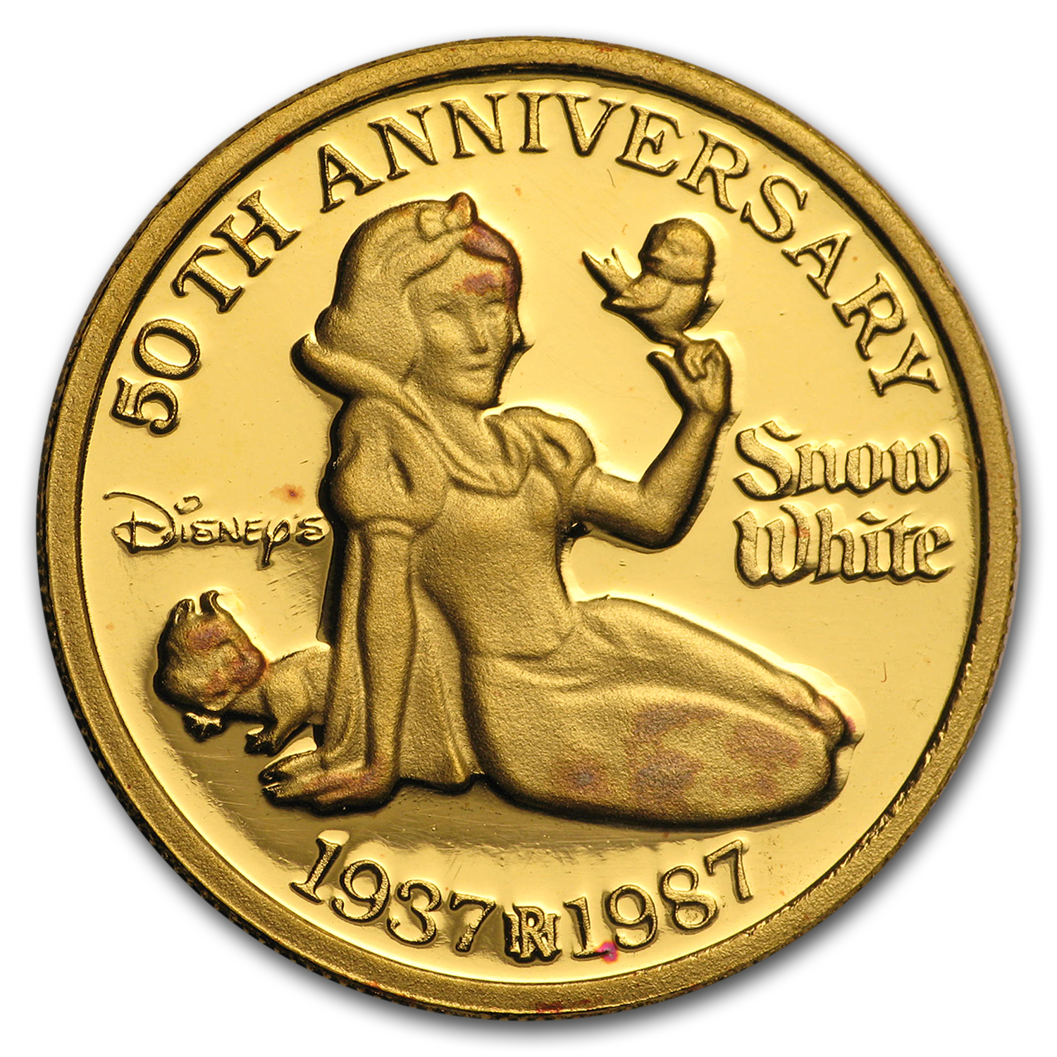 1 oz Gold Rounds - Disney Snow White 50th Anniversary