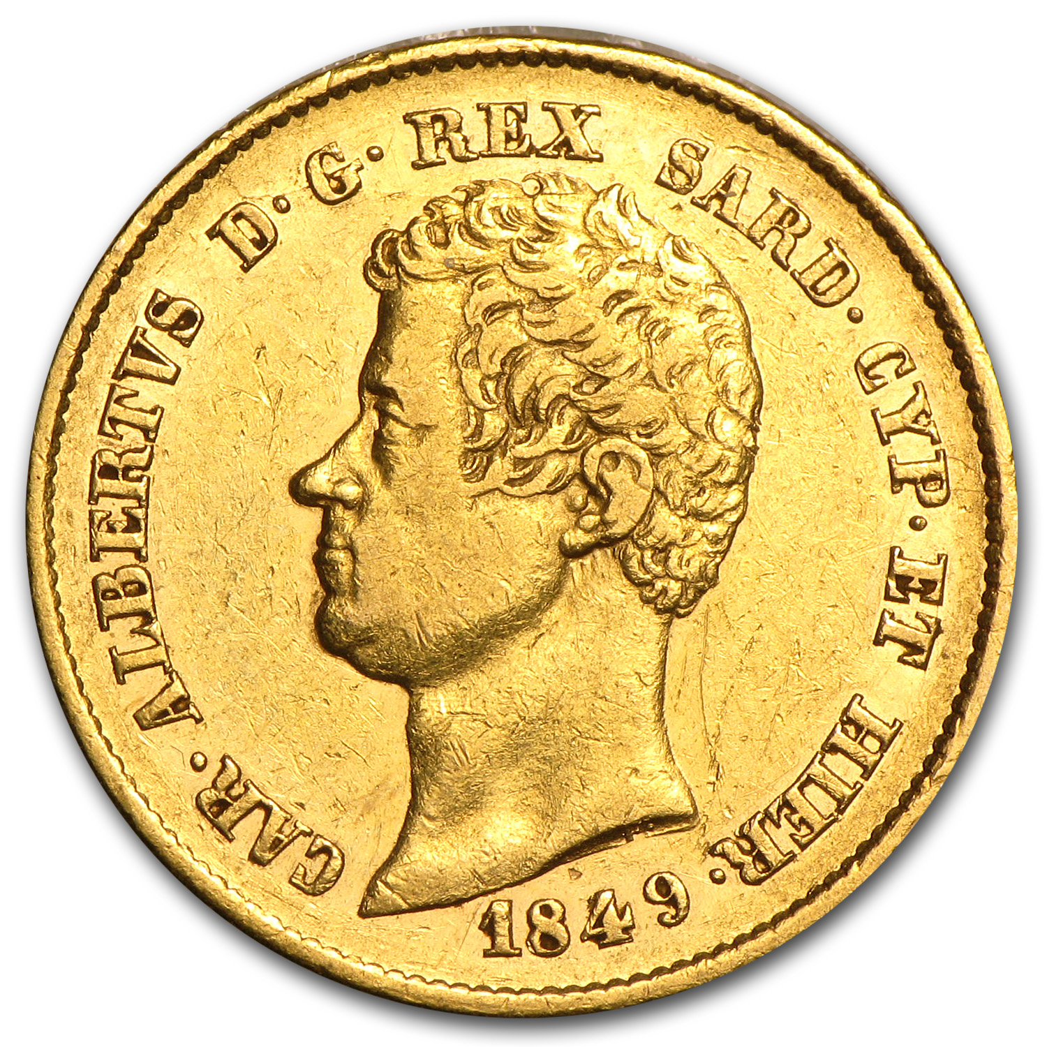 Sardinia Gold 20 Lire XF or Better (AGW .1867, Random)