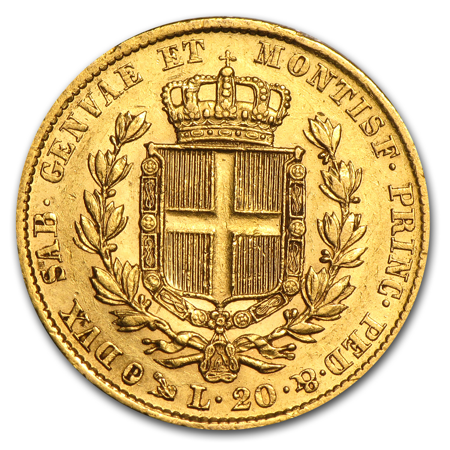 Sardinia Gold 20 Lire XF or Better (AGW .1867)