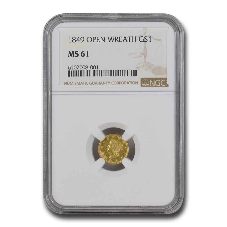 1849 $1 Liberty Gold - Small Head - Open Wreath - MS-61 NGC