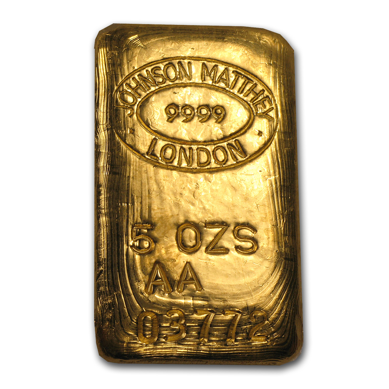 5 oz Gold Bar - Johnson Matthey-London (Poured, RNB)