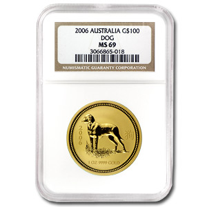 2006 1 oz Gold Year of the Dog Lunar Coin (Series I) NGC MS-69