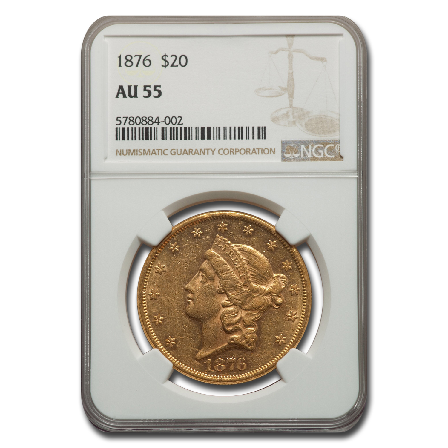 1876 $20 Gold Liberty Double Eagle - AU-55 NGC
