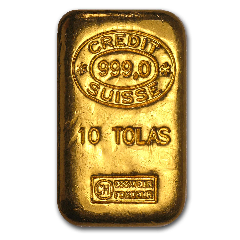10 Tolas Gold Bar Credit Suisse 3 75 Oz Credit