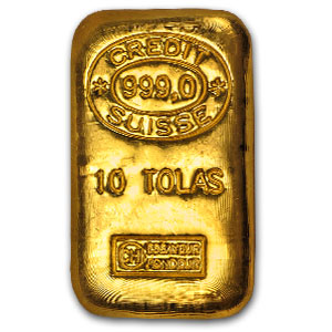 10 Tolas Gold Bar - Credit Suisse (3.75 oz)