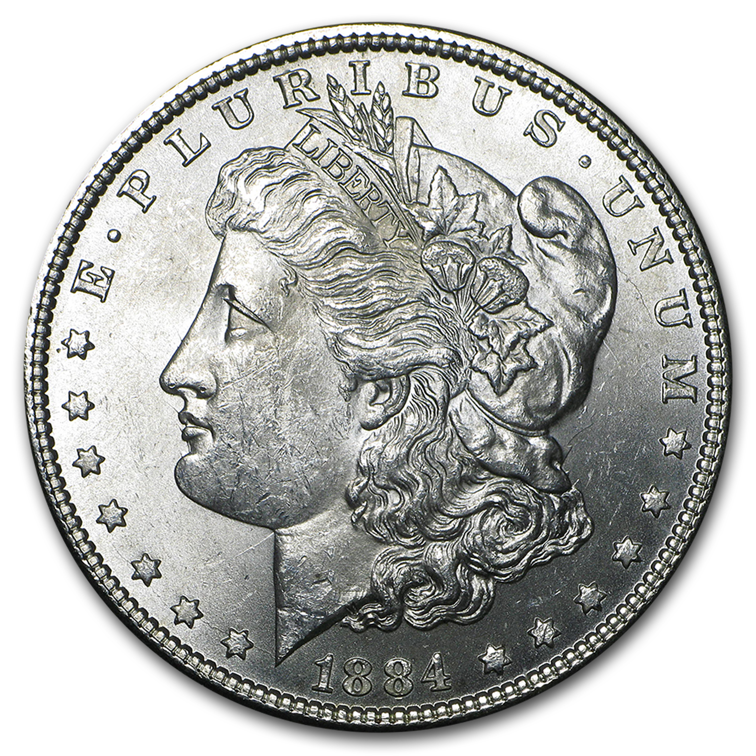 1884 Morgan Dollar BU (VAM-2A, E Rev Hot-50)