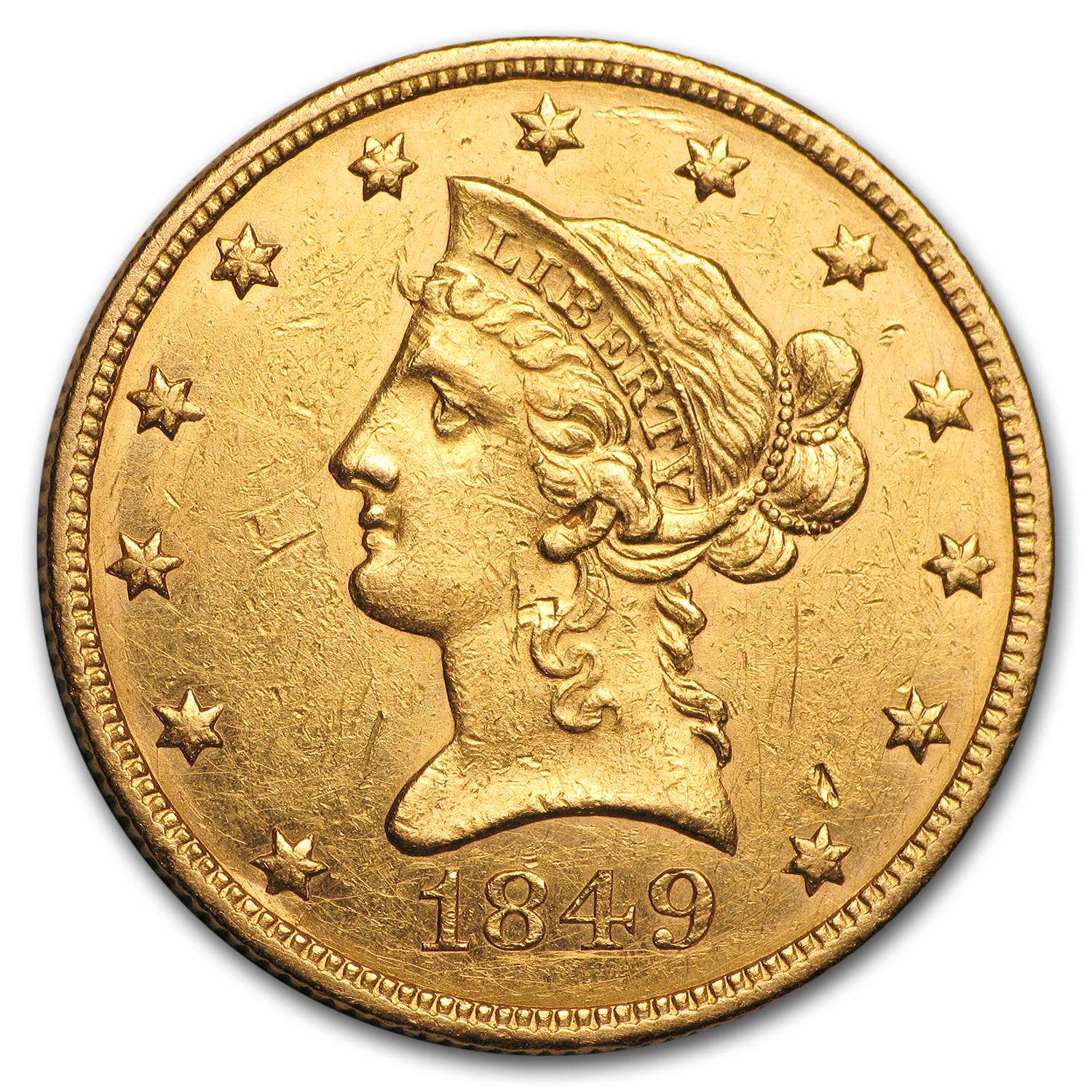 1849 $10 Liberty Gold Eagle XF
