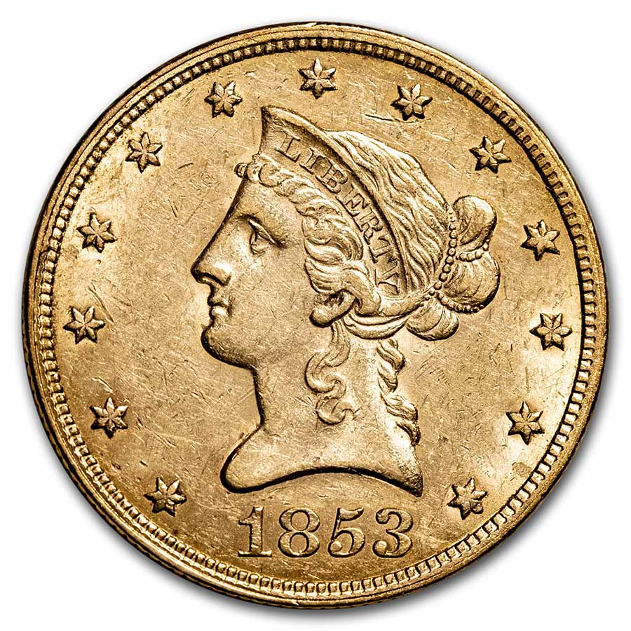 1853 $10 Liberty Gold Eagle Almost Uncirculated