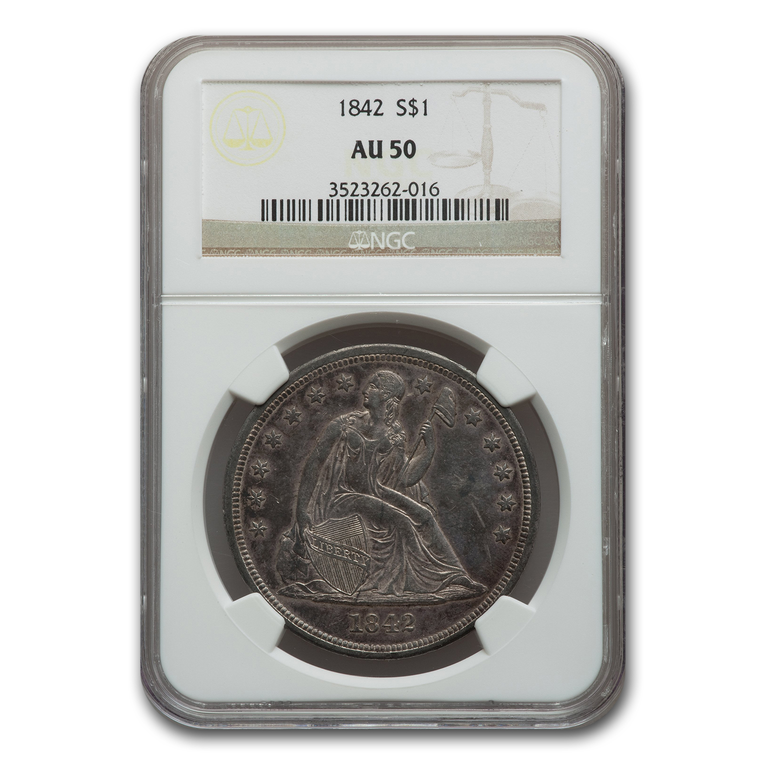 1842 Liberty Seated Dollar Almost Uncirculated-50 NGC