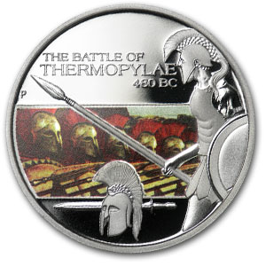2009 Tuvalu 1 oz Silver Battle of Thermopylae Proof