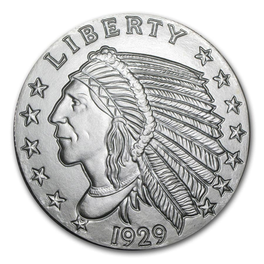 5 oz Silver Rounds - Incuse Indian