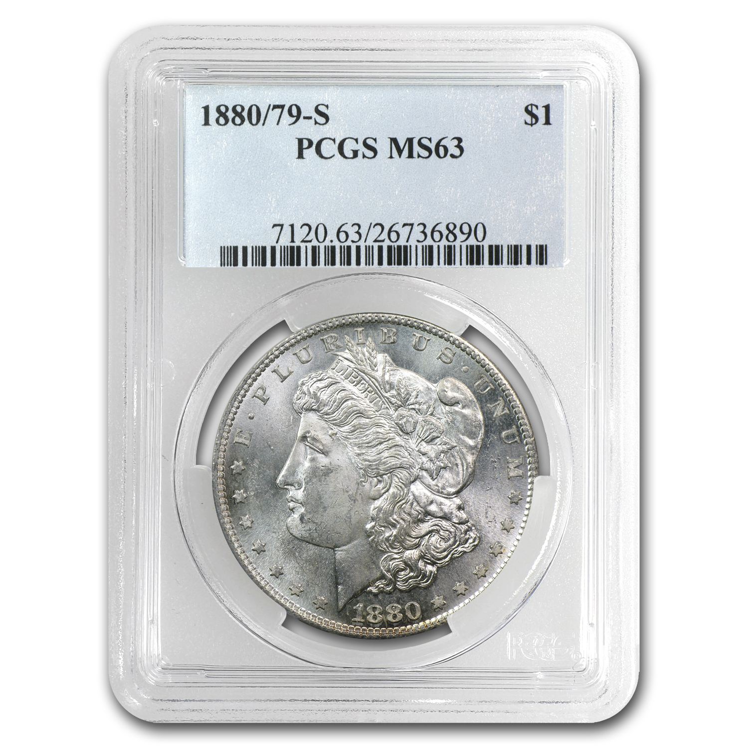 1880/79-S Morgan Dollar MS-63 PCGS (Overdate Top-100)