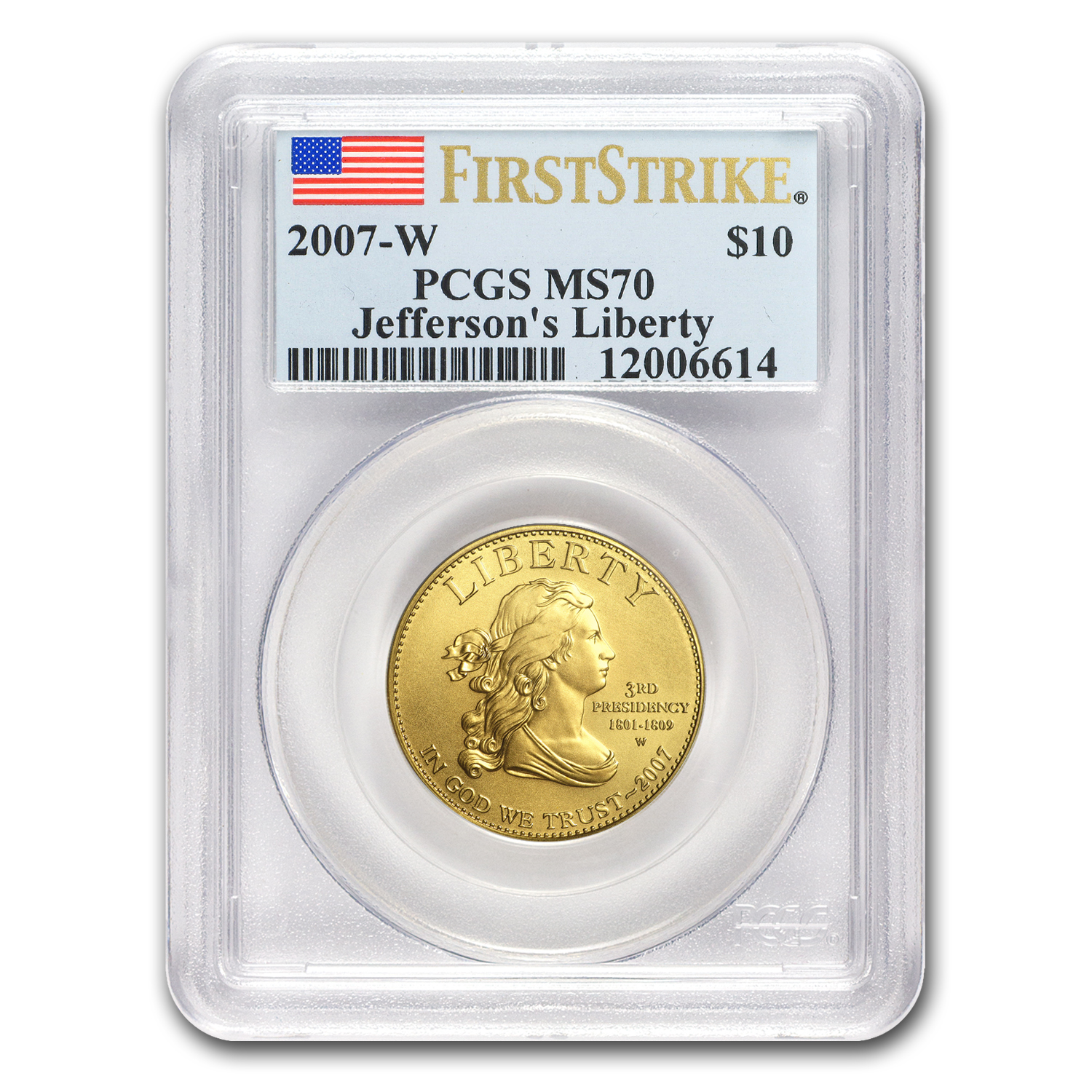 2007-W 1/2 oz Gold Jefferson's Liberty MS-70 PCGS (First Strike)