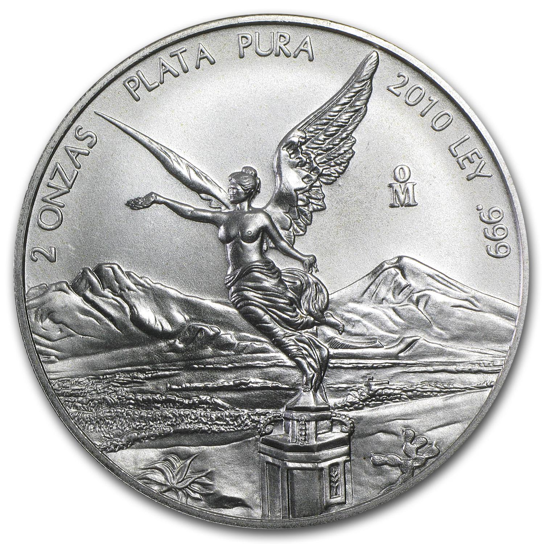 2010 Mexico 2 Oz Silver Libertad Bu 2 Oz Silver