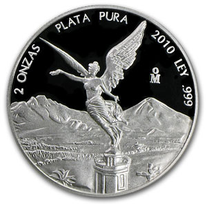 2010 Mexico 2 oz Silver Libertad Proof (In Capsule)