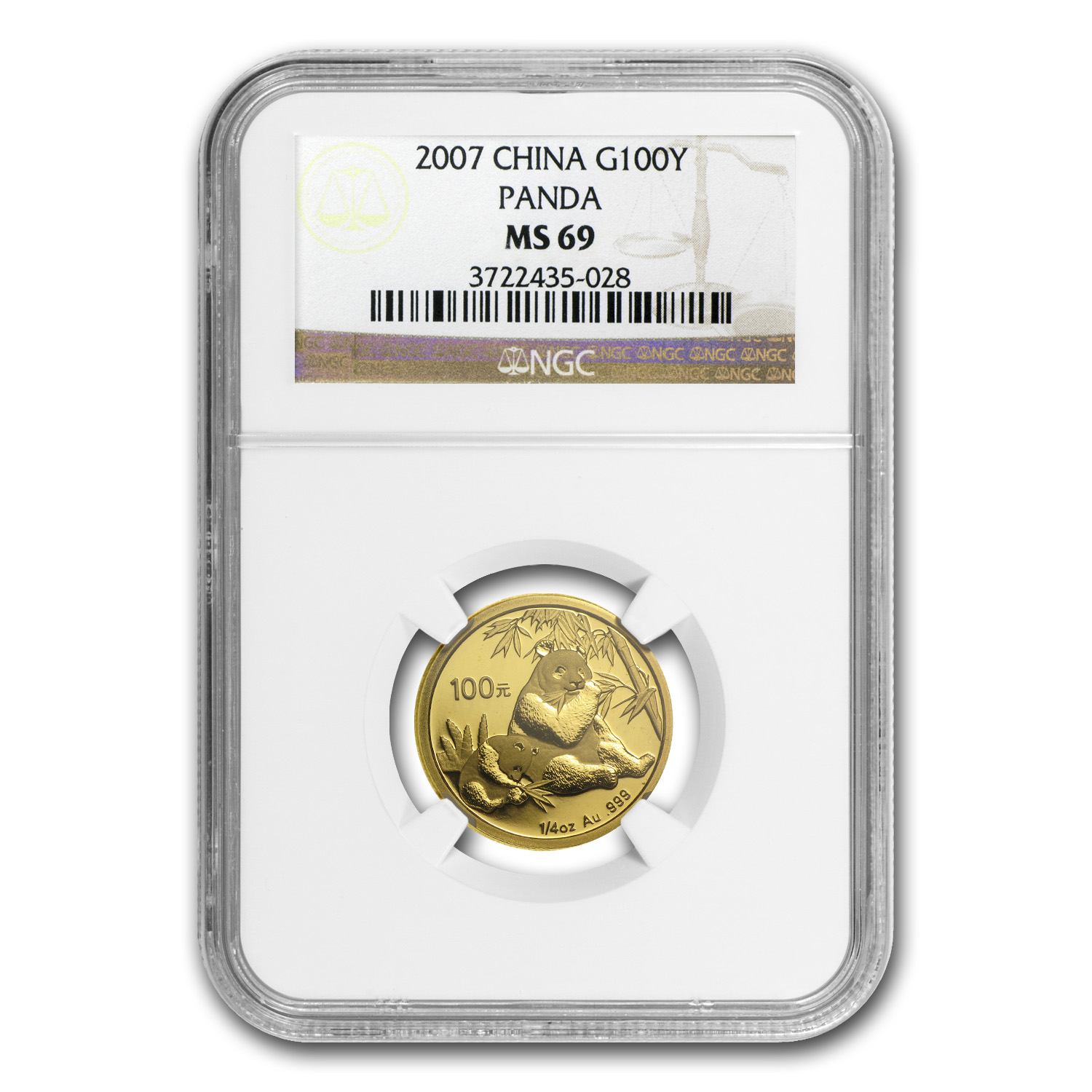 2007 (1/4 oz) Gold Chinese Pandas - MS-69 NGC