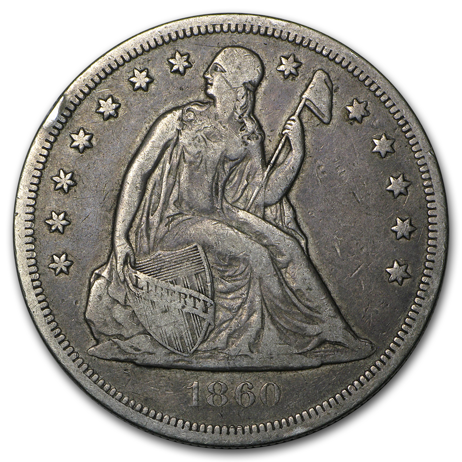 1860-O Liberty Seated Dollar VF