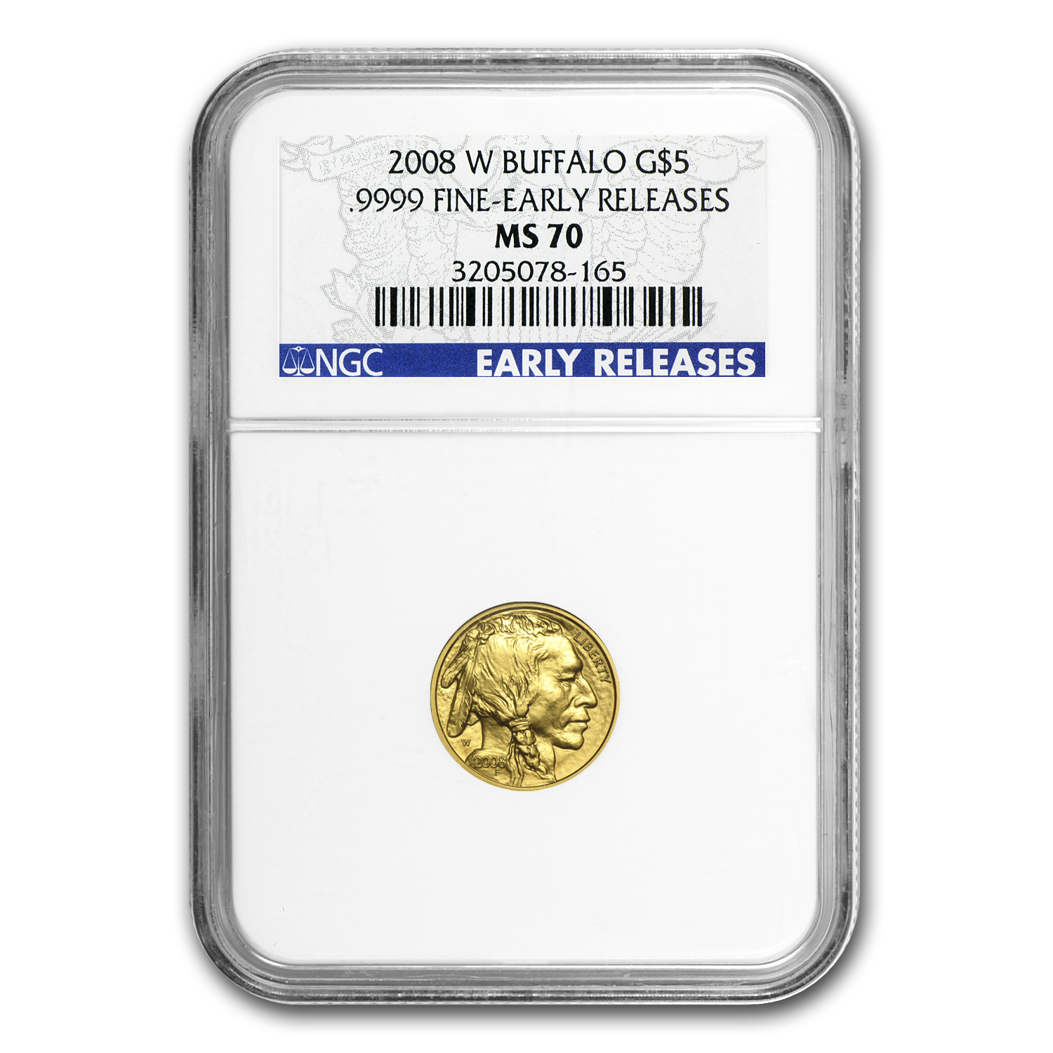 2008-W 1/10 oz Gold Buffalo MS-70 NGC (ER, Registry Set)