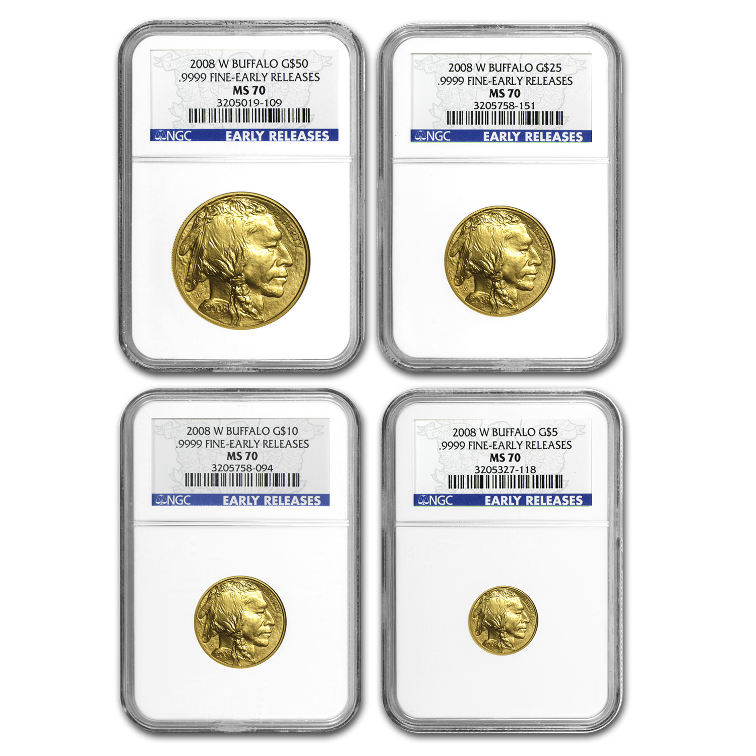 2008-W 4-Coin Gold Buffalo Set MS-70 NGC (Early Releases)