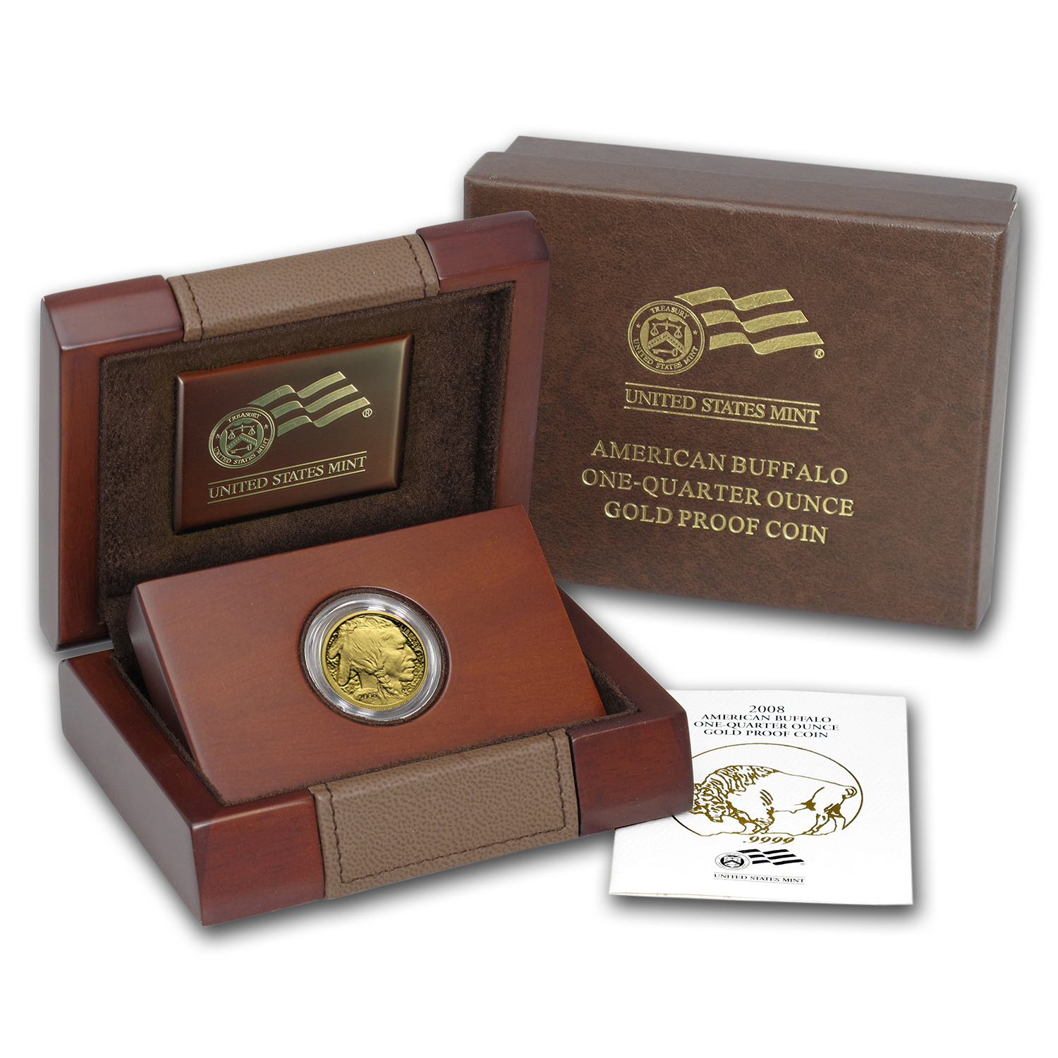 2008-W 1/4 oz Proof Gold Buffalo (w/Box & COA)