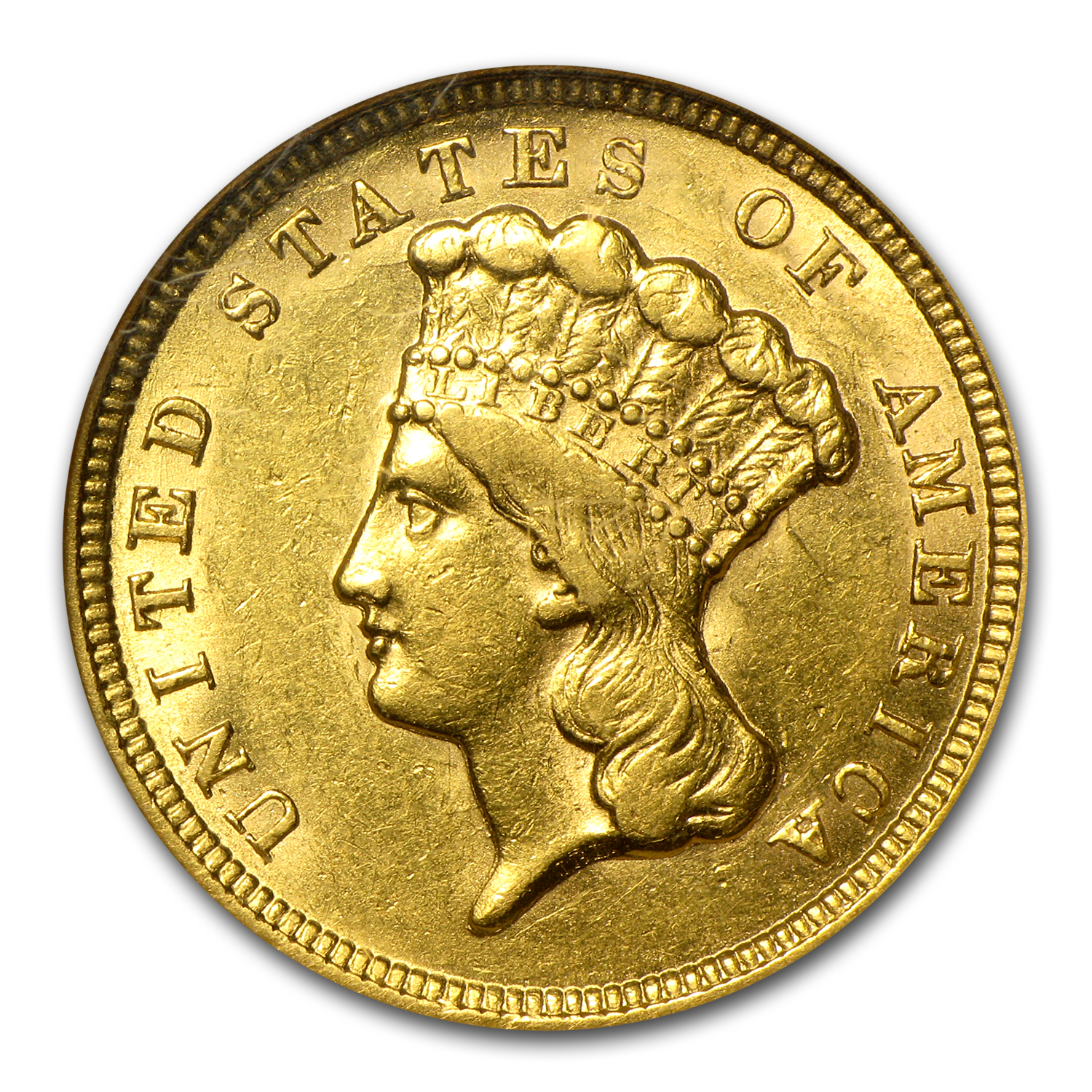 1854 $3 Gold Princess - AU-58 NGC