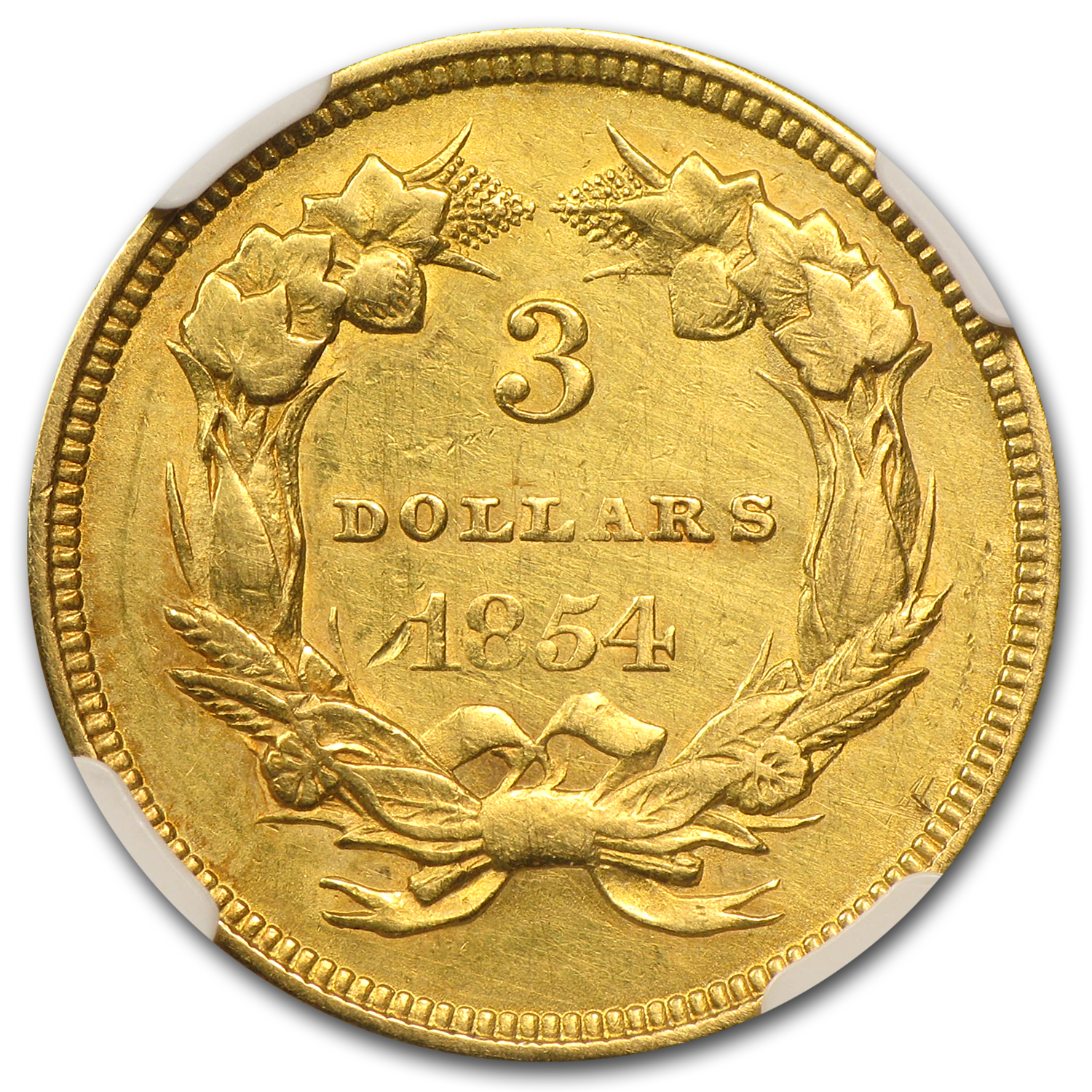 1854 $3 Gold Princess - AU Details - NGC - (Improperly Cleaned)